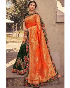 Bottle Green and Tangy Orange Embroidered Designer Saree