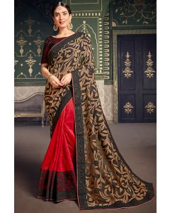 Carrot Red and Black Designer Half n Half Saree with Embroidered Blouse