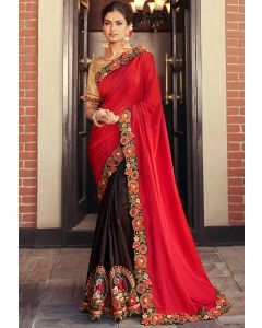 Coffee Brown and Carrot Red Embroidered Designer Saree