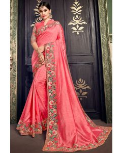 Coral Pink Designer Silk Saree with Embroidered Blouse