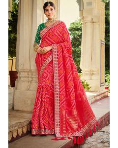 Gajari Pink Designer Banarasi Silk Saree