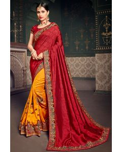 Golden Yellow and Cherry Red Designer Silk Saree with Embroidered Blouse