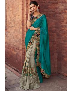 Grey and Teal Blue Embroidered Designer Saree