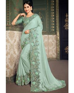 Ice Blue Designer Silk Saree with Embroidered Blouse