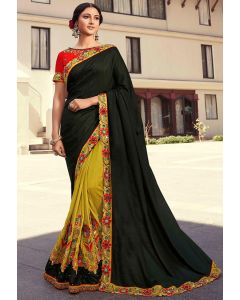 Lime Yellow and Wild Green Embroidered Designer Saree