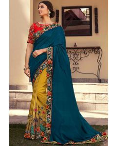 Mustard and Peacock Blue Embroidered Designer Saree