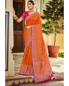 Orange Designer Banarasi Silk Saree