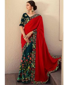 Peacock Blue and Hot Red Embroidered Designer Saree