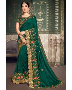 Pine Green Designer Silk Saree with Embroidered Blouse