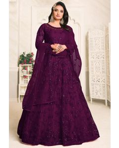 Plum Embroidered Net Floor Length Anarkali Dress
