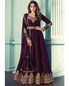 Shamita Shetty Burgundy Embroidered Georgette Anarkali Suit