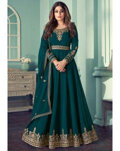 Shamita Shetty Morpich Embroidered Georgette Anarkali Suit