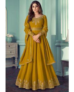 Shamita Shetty Mustard Embroidered Georgette Anarkali Suit