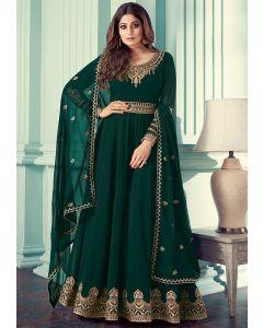 Shamita Shetty Pine Green Embroidered Georgette Anarkali Suit