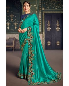 Turquoise Designer Silk Saree with Embroidered Blouse
