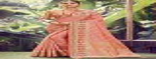 Coral Pink Designer Silk Saree