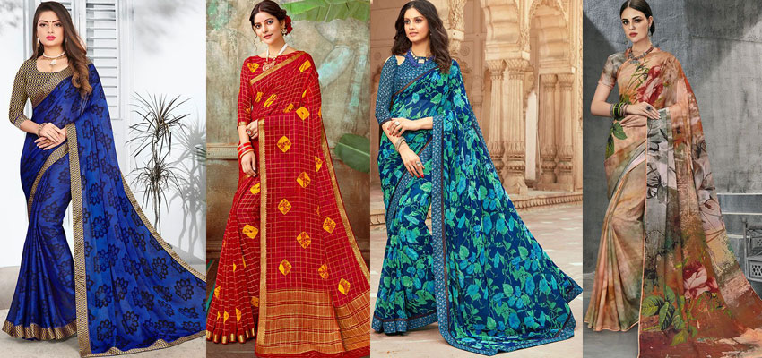 Chiffon Georgette Sarees with Printed Blouses: Invoke the Sensuousness